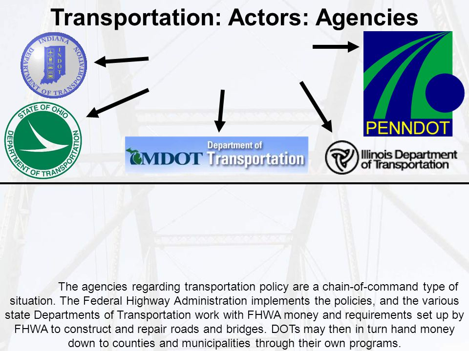 Transportation: Actors: Agencies The agencies regarding transportation policy are a chain-of-command type of situation.