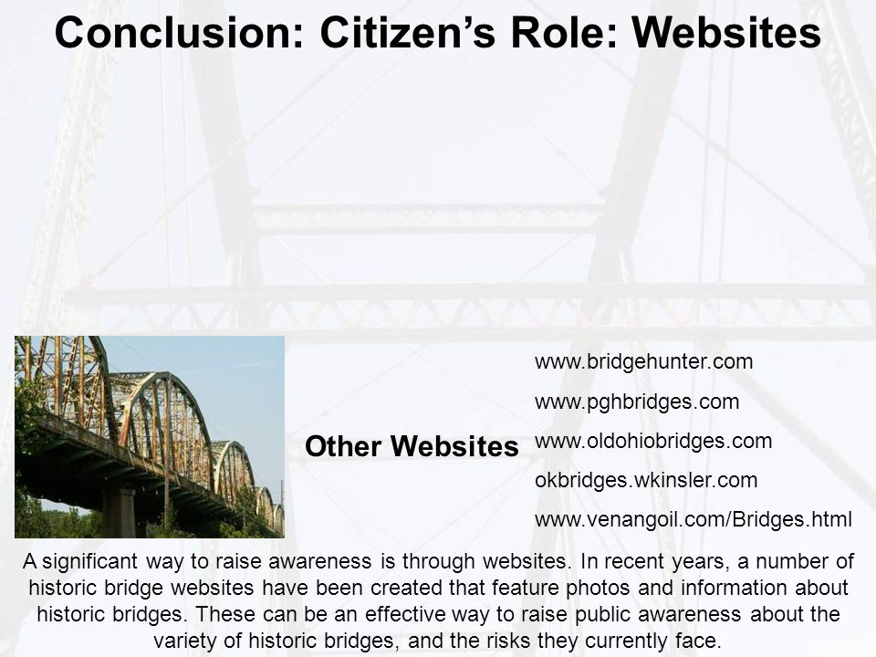 Conclusion: Citizen's Role: Websites A significant way to raise awareness is through websites.