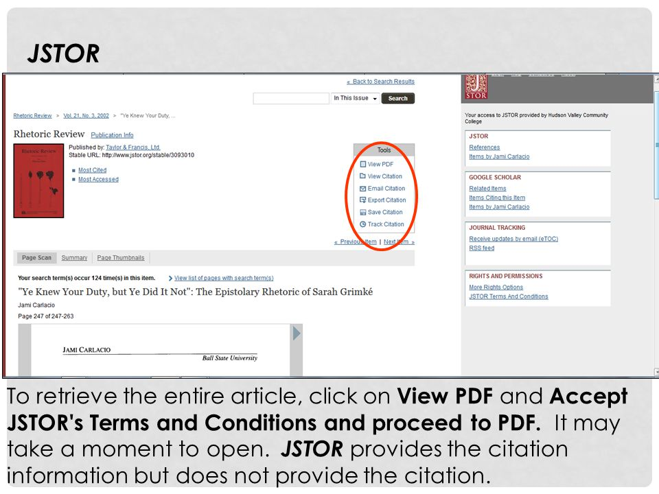To retrieve the entire article, click on View PDF and Accept JSTOR's Terms and Conditions and proceed to PDF. It may take a moment to open. JSTOR prov