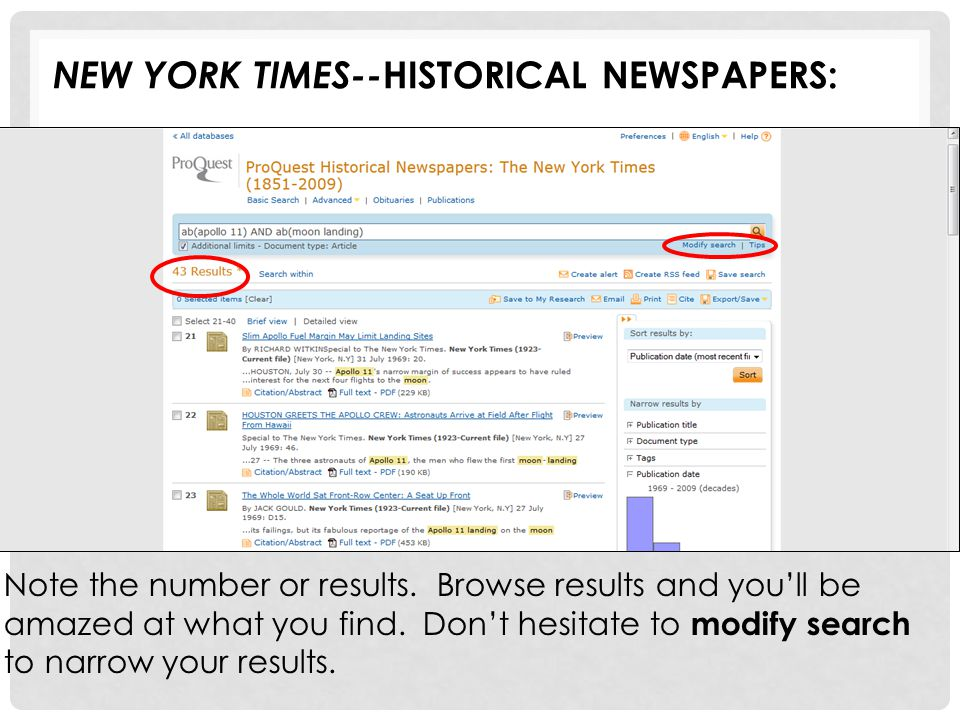 Note the number or results. Browse results and you'll be amazed at what you find. Don't hesitate to modify search to narrow your results. NEW YORK TIM