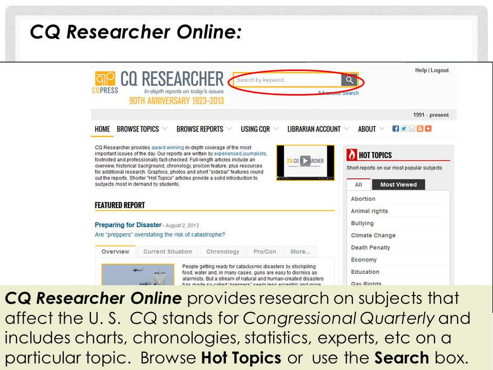 CQ Researcher Online: CQ Researcher Online provides research on subjects that affect the U. S. CQ stands for Congressional Quarterly and includes char