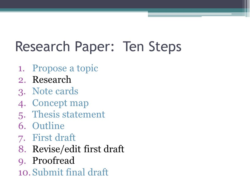 Step 1: Identifying your topic The first step in the research process.