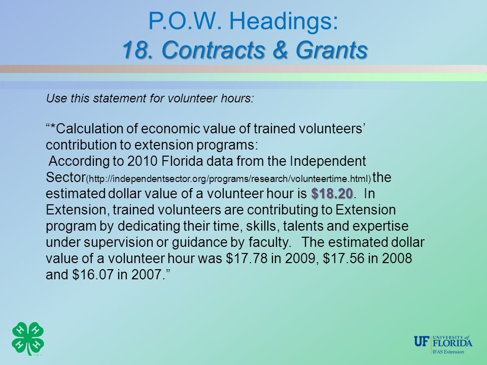 "18. Contracts & Grants P.O.W. Headings: 18. Contracts & Grants Use this statement for volunteer hours: ""*Calculation of economic value of trained volu"