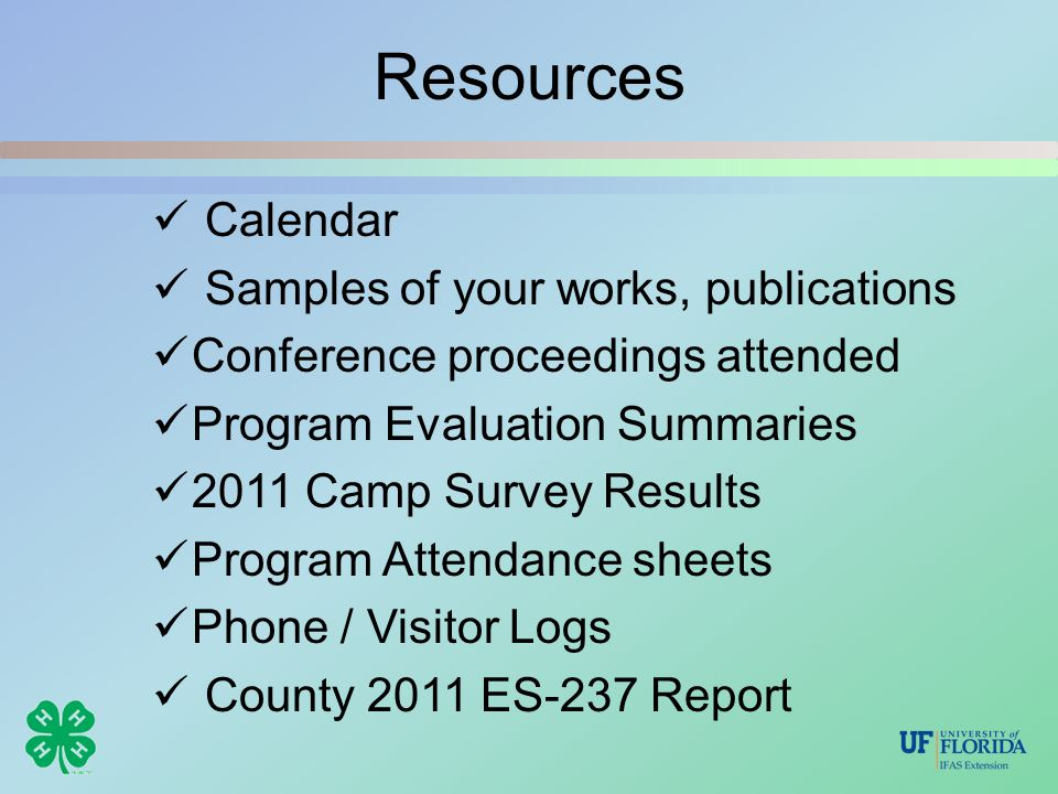 Resources Calendar Samples of your works, publications Conference proceedings attended Program Evaluation Summaries 2011 Camp Survey Results Program A