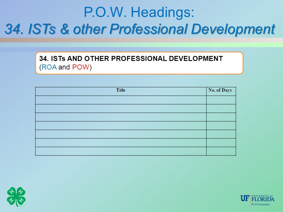 34. ISTs & other Professional Development P.O.W. Headings: 34. ISTs & other Professional Development 34. ISTs AND OTHER PROFESSIONAL DEVELOPMENT (ROA