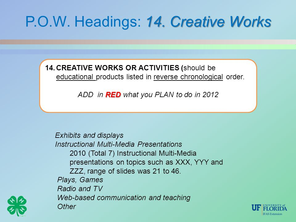 14. Creative Works P.O.W. Headings: 14. Creative Works 14.CREATIVE WORKS OR ACTIVITIES (should be educational products listed in reverse chronological