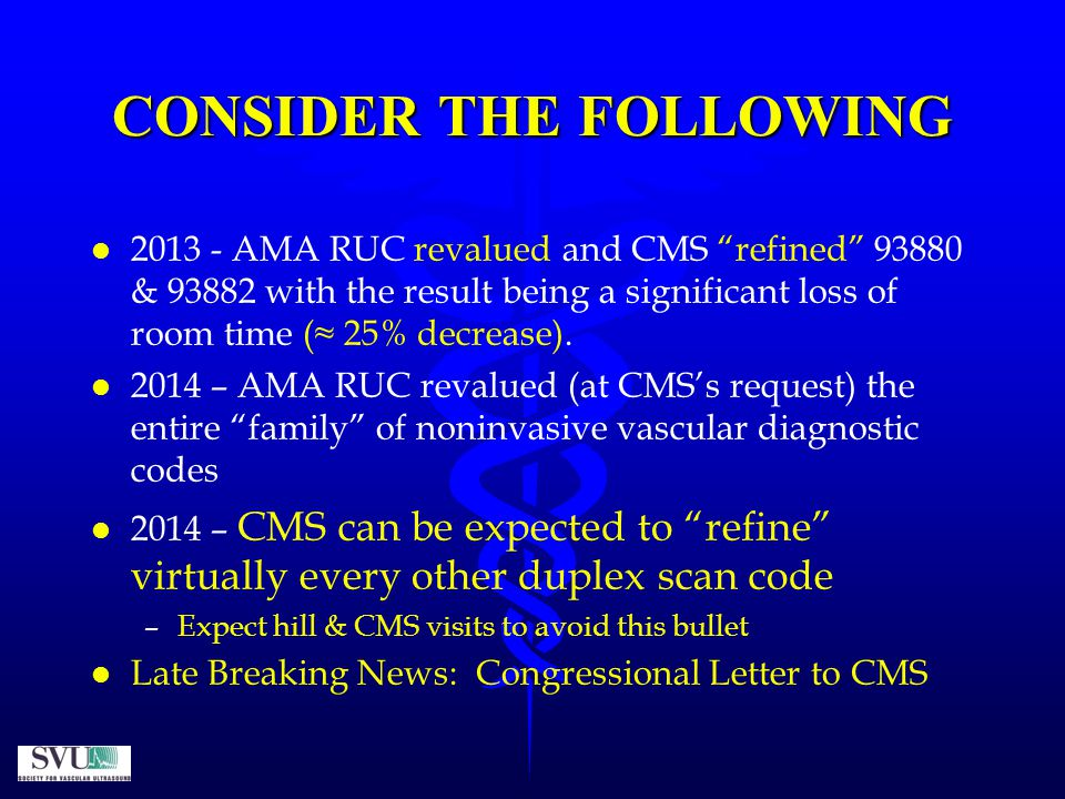CONSIDER THE FOLLOWING l l 2013 - AMA RUC revalued and CMS refined 93880 & 93882 with the result being a significant loss of room time (≈ 25% decrease).