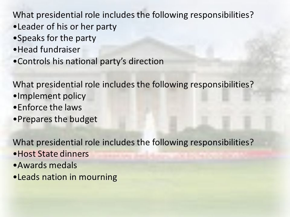 What presidential role includes the following responsibilities.