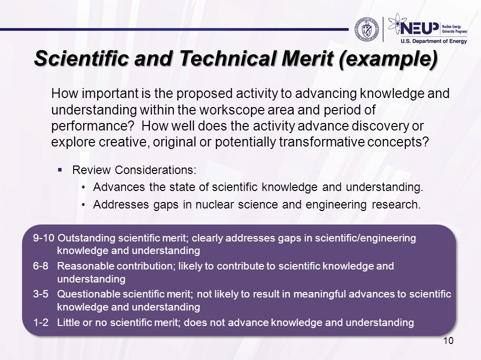 Scientific and Technical Merit (example) How important is the proposed activity to advancing knowledge and understanding within the workscope area and
