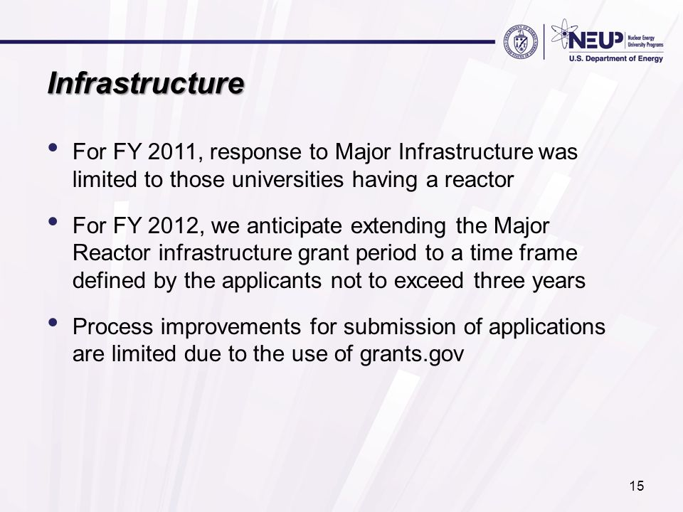 Infrastructure For FY 2011, response to Major Infrastructure was limited to those universities having a reactor For FY 2012, we anticipate extending t