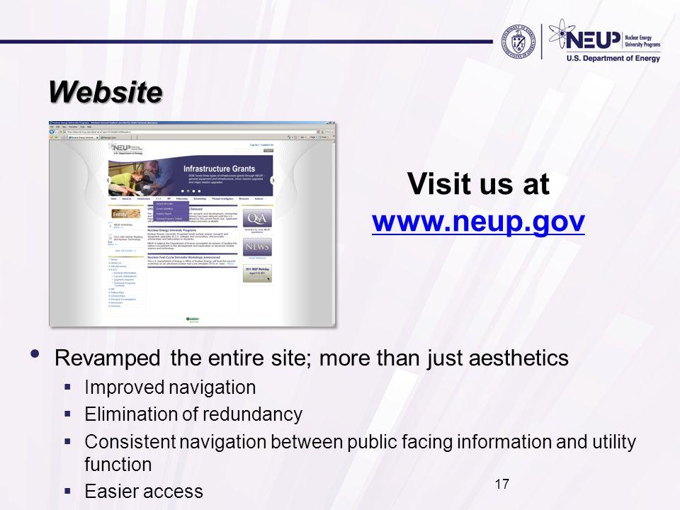 Website Visit us at www.neup.gov www.neup.gov Revamped the entire site; more than just aesthetics  Improved navigation  Elimination of redundancy 
