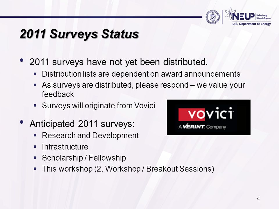 2011 Surveys Status 2011 surveys have not yet been distributed.  Distribution lists are dependent on award announcements  As surveys are distributed