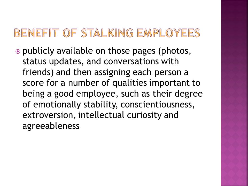 DATA of SOCIAL NETWORK THAT EMPLOYER STALK EMPLOYEES