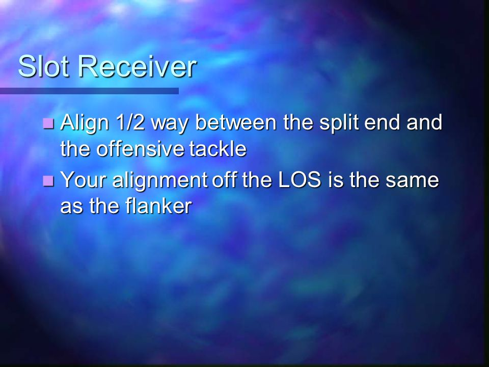Slot Receiver Align 1/2 way between the split end and the offensive tackle Align 1/2 way between the split end and the offensive tackle Your alignment off the LOS is the same as the flanker Your alignment off the LOS is the same as the flanker