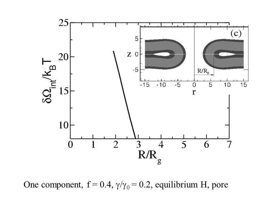 One component, f = 0.4,  /  0 = 0.2, equilibrium H, pore