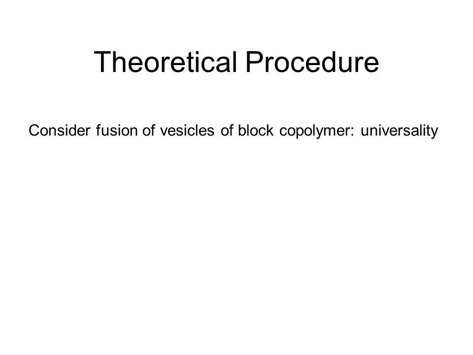 Theoretical Procedure Consider fusion of vesicles of block copolymer: universality Polymers->Random walk->Diffusion Eq.-> Quantum Mech.