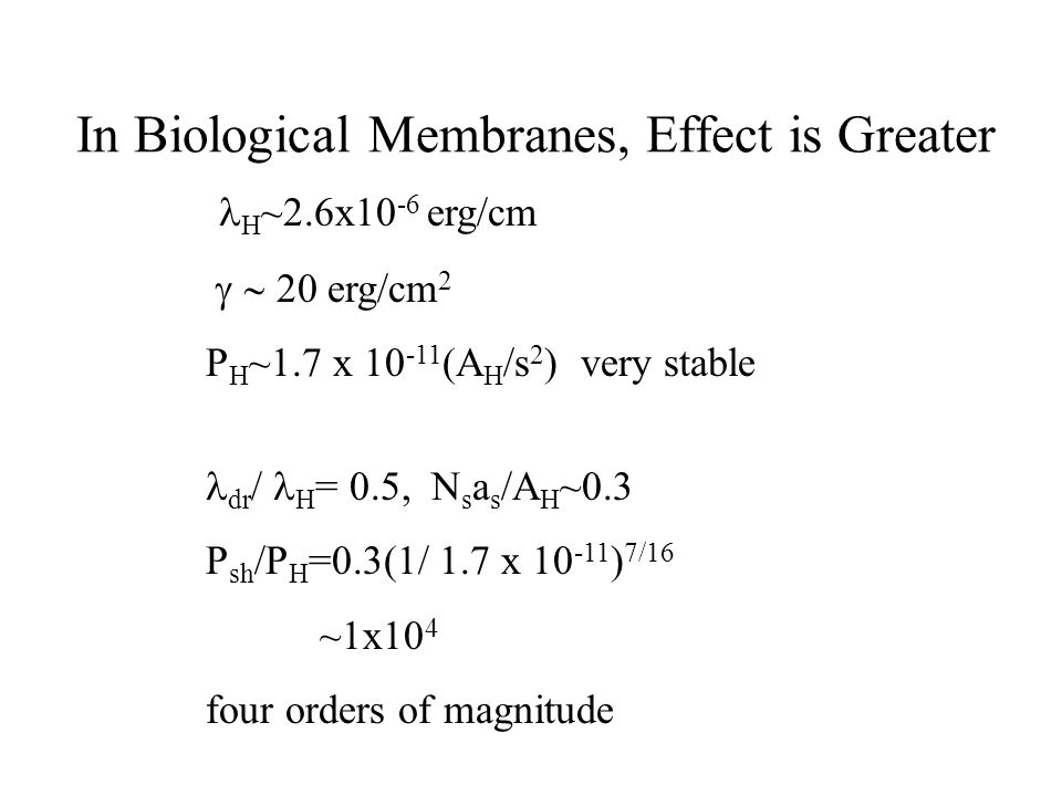 In Biological Membranes, Effect is Greater  H ~2.6x10 -6 erg/cm  20 erg/cm 2 P H ~1.7 x 10 -11 (A H /s 2 ) very stable dr / H = 0.5, N s a s /A H ~0.3 P sh /P H =0.3(1/ 1.7 x 10 -11 ) 7/16 ~1x10 4 four orders of magnitude 