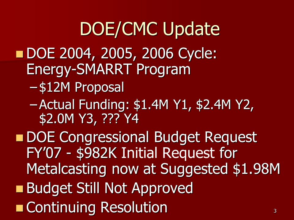 4 DOE/CMC Update (Cont.) DOE/CMC Update (Cont.) Year 1 Req Actual Year 2 Req Actual Year 3 Req Actual Year 4 $625K$441K$1,179K$920K$1,200K$450K+$125K$225K+$125K E-SMARRT FUNDS FOR DIE CASTING PROJECTS NADCA Board Approved another $125K of NADCA Funds to be Added to E-SMARRT for Year 4 as they did for Year 3