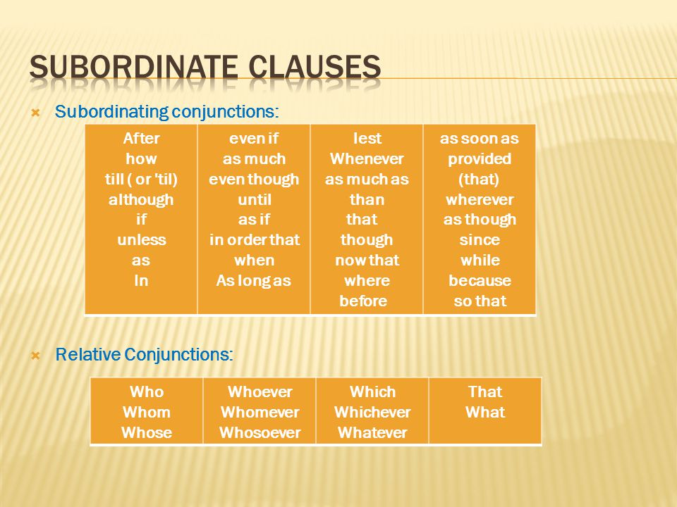  Subordinating conjunctions:  Relative Conjunctions: After how till ( or til) although if unless as In even if as much even though until as if in order that when As long as lest Whenever as much as than that though now that where before as soon as provided (that) wherever as though since while because so that Who Whom Whose Whoever Whomever Whosoever Which Whichever Whatever That What