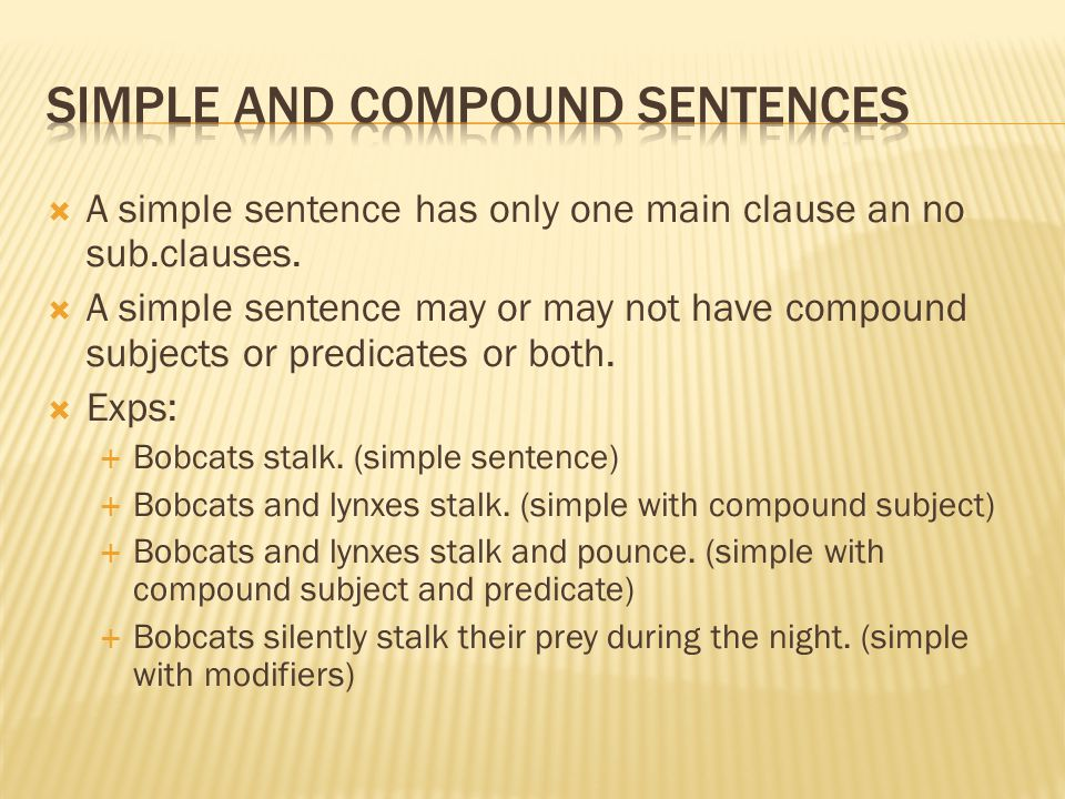  A simple sentence has only one main clause an no sub.clauses.
