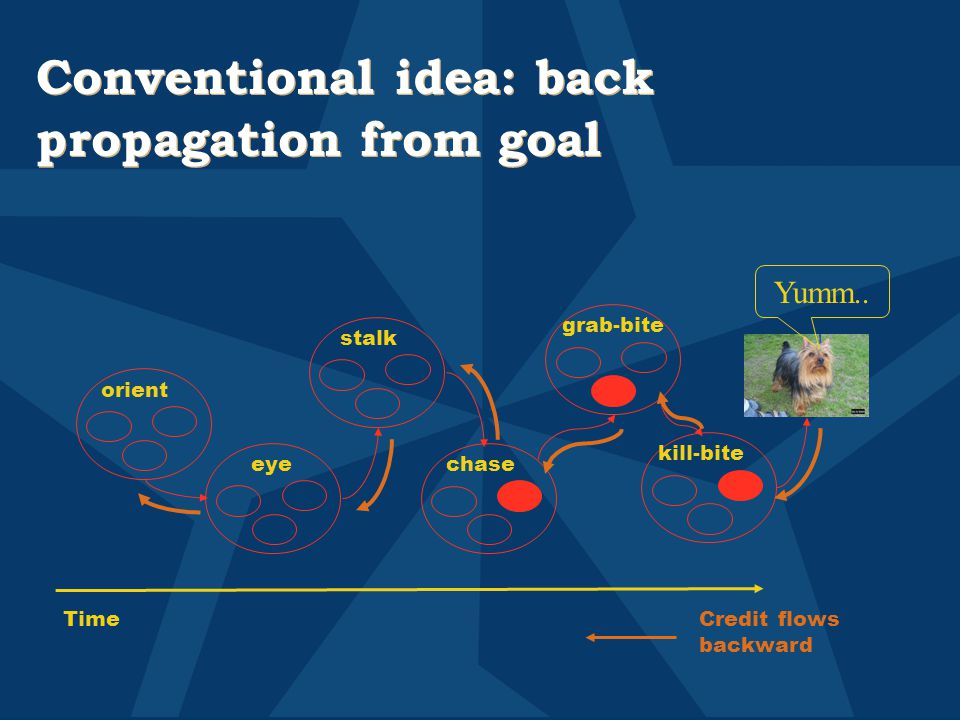 Conventional idea: back propagation from goal stalk grab-bite eye orient kill-bite chase Yumm..