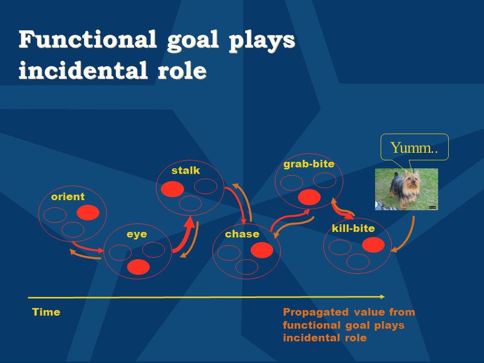 Functional goal plays incidental role stalk grab-bite eye orient kill-bite chase TimePropagated value from functional goal plays incidental role Yumm..