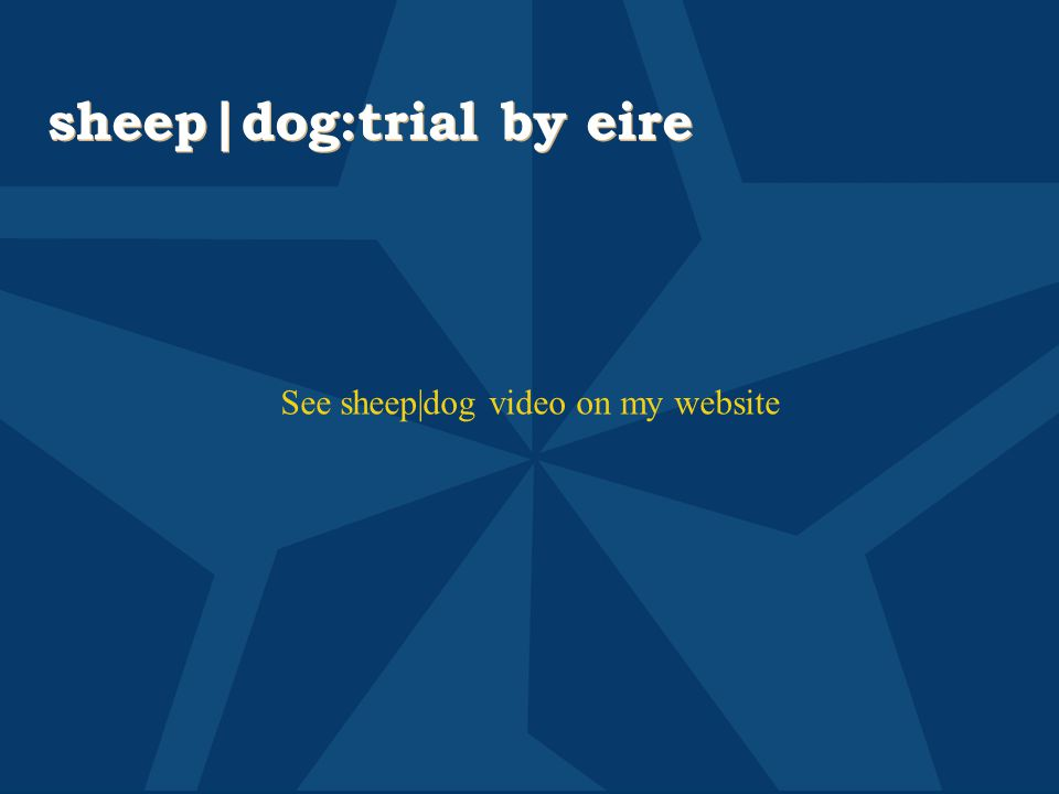 sheep dog:trial by eire See sheep dog video on my website