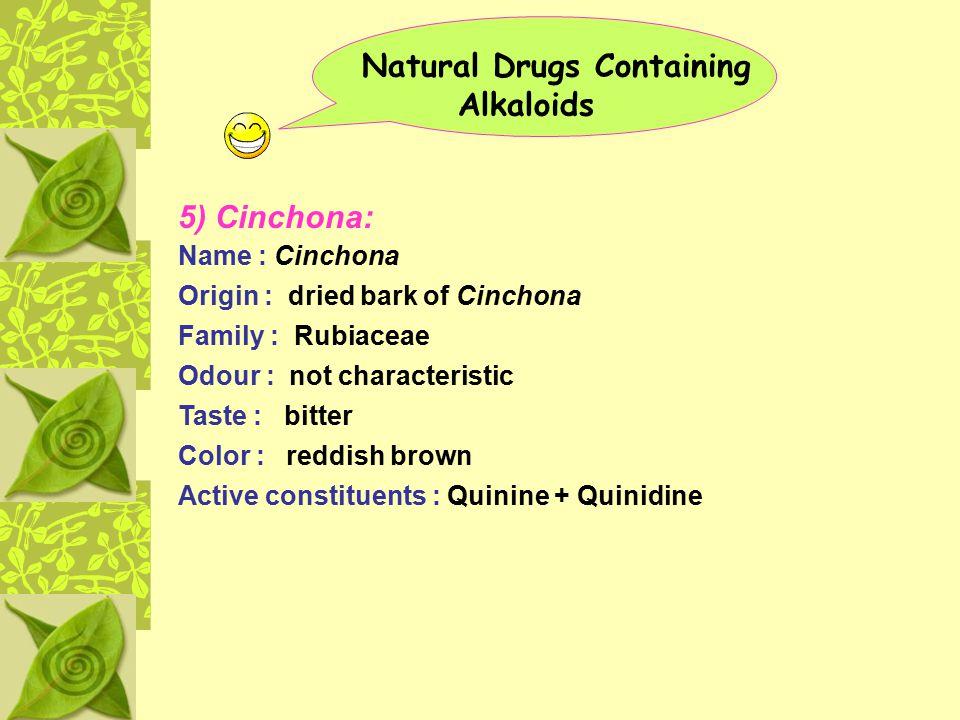 Natural Drugs Containing Alkaloids 5) Cinchona: Name : Cinchona Origin : dried bark of Cinchona Family : Rubiaceae Odour : not characteristic Taste :