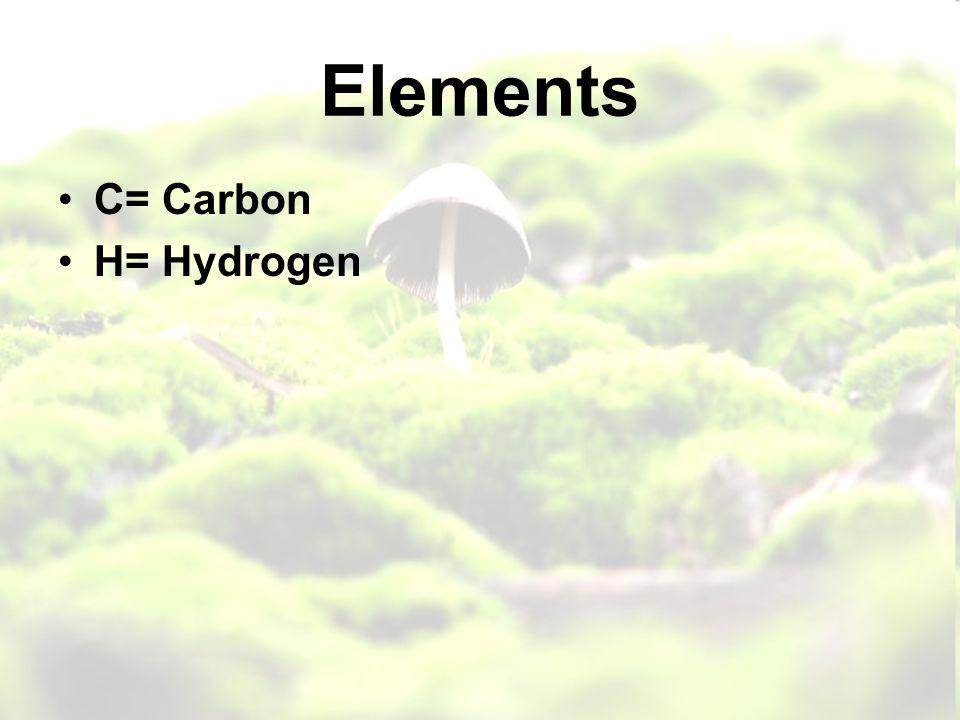 Elements C= Carbon H= Hydrogen