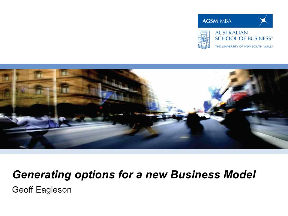 Generating options for a new Business Model : Leverage the experiences of others.
