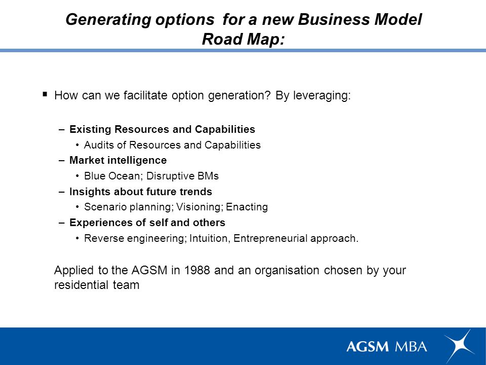 Generating options for a new Business Model: Caveats This is not a numbers game ; this is Do or die .
