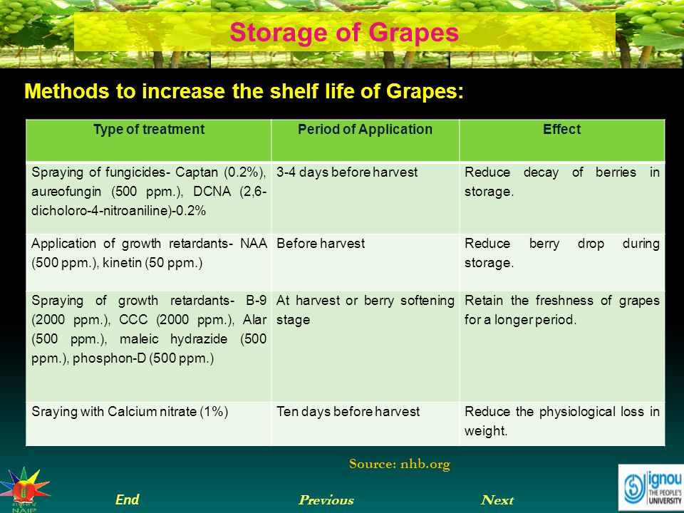 Next End Previous Storage of Grapes Methods to increase the shelf life of Grapes: Type of treatmentPeriod of ApplicationEffect Spraying of fungicides- Captan (0.2%), aureofungin (500 ppm.), DCNA (2,6- dicholoro-4-nitroaniline)-0.2% 3-4 days before harvest Reduce decay of berries in storage.