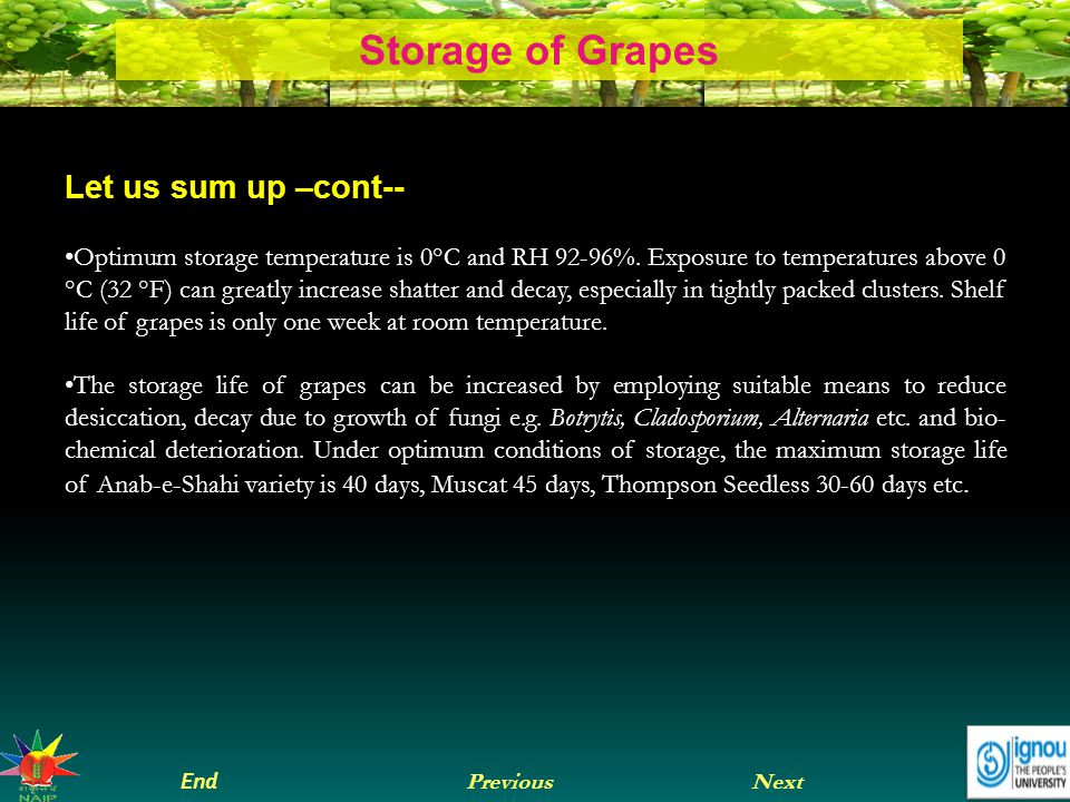 Next End Previous Storage of Grapes Let us sum up –cont-- Optimum storage temperature is 0°C and RH 92-96%.