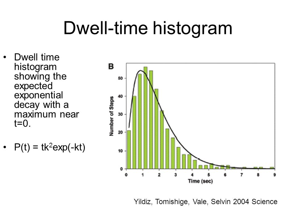 Dwell-time histogram Dwell time histogram showing the expected exponential decay with a maximum near t=0. P(t) = tk 2 exp(-kt) Yildiz, Tomishige, Vale