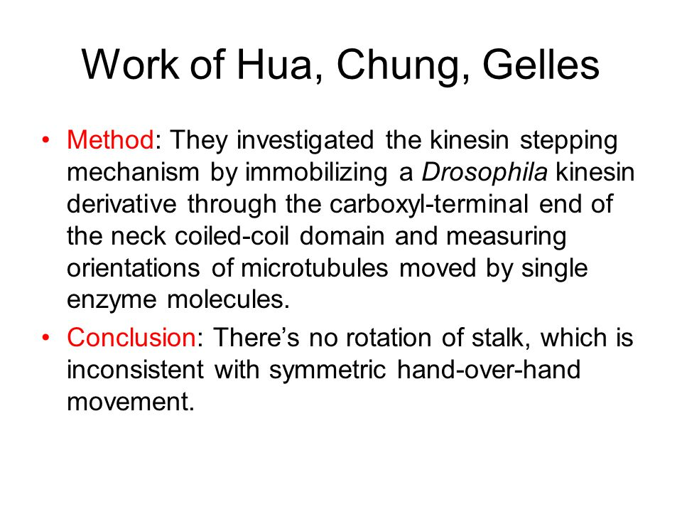 Symmetric hand-over-hand vs inchworm Hua, Chung, Gelles 2002 Science