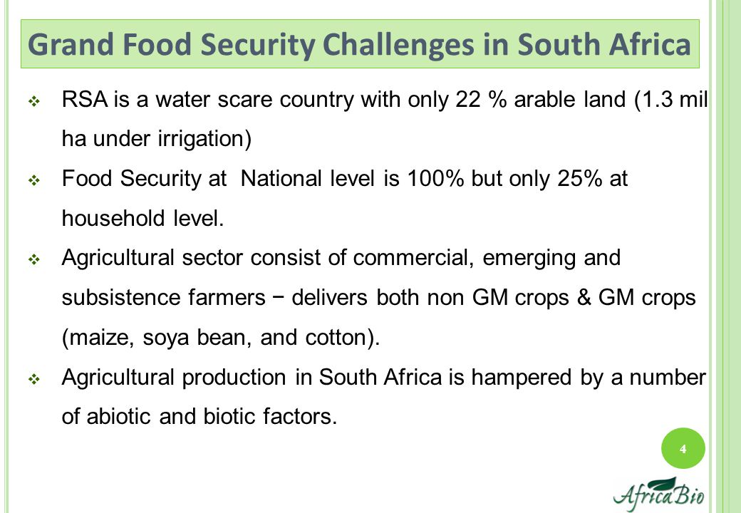  RSA is a water scare country with only 22 % arable land (1.3 mil ha under irrigation)  Food Security at National level is 100% but only 25% at household level.
