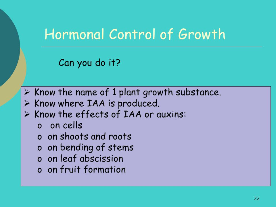 22 Hormonal Control of Growth Can you do it?  Know the name of 1 plant growth substance.  Know where IAA is produced.  Know the effects of IAA or a