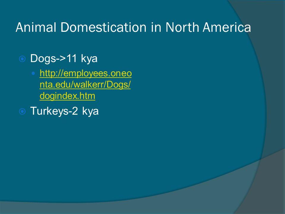 Animal Domestication in North America  Dogs->11 kya http://employees.oneo nta.edu/walkerr/Dogs/ dogindex.htm http://employees.oneo nta.edu/walkerr/Dogs/ dogindex.htm  Turkeys-2 kya
