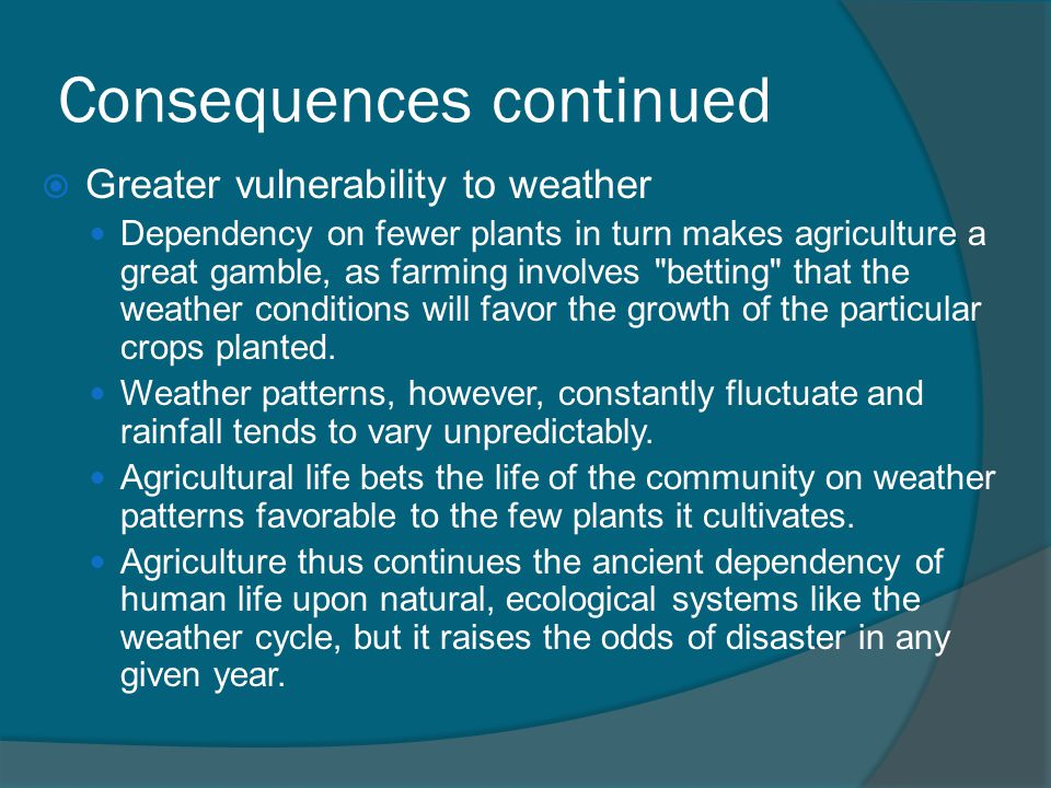 Consequences continued  Greater vulnerability to weather Dependency on fewer plants in turn makes agriculture a great gamble, as farming involves betting that the weather conditions will favor the growth of the particular crops planted.