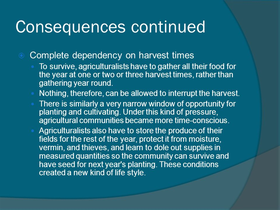 Consequences continued  Complete dependency on harvest times To survive, agriculturalists have to gather all their food for the year at one or two or three harvest times, rather than gathering year round.