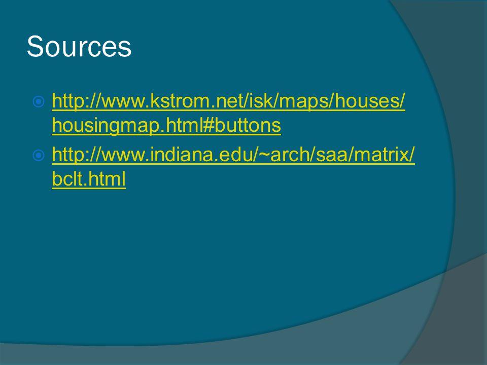 Sources  http://www.kstrom.net/isk/maps/houses/ housingmap.html#buttons http://www.kstrom.net/isk/maps/houses/ housingmap.html#buttons  http://www.indiana.edu/~arch/saa/matrix/ bclt.html http://www.indiana.edu/~arch/saa/matrix/ bclt.html