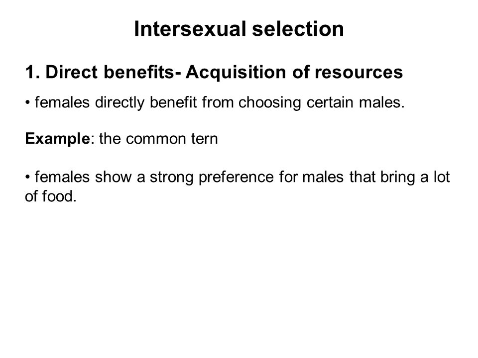 Intersexual selection 1.