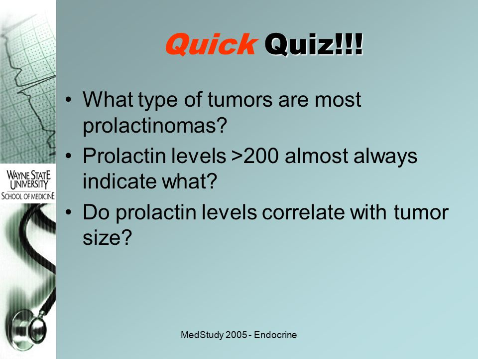 MedStudy 2005 - Endocrine Quiz!!! Quick Quiz!!! What type of tumors are most prolactinomas? Prolactin levels >200 almost always indicate what? Do prol