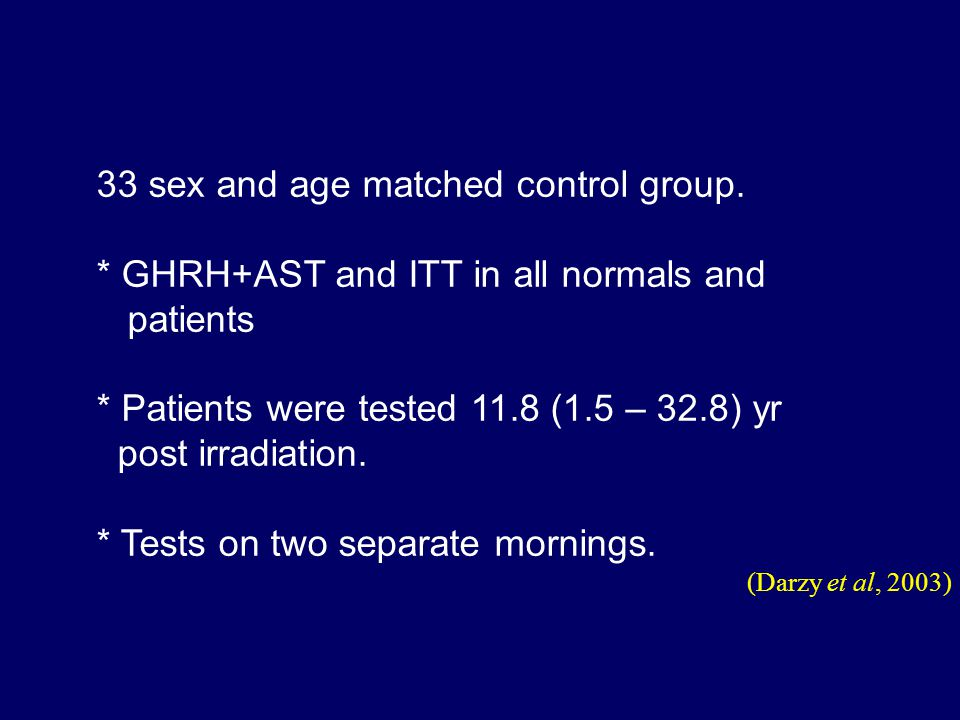 (Darzy et al, 2003) 33 sex and age matched control group.