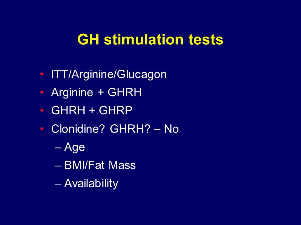 GH stimulation tests ITT/Arginine/Glucagon Arginine + GHRH GHRH + GHRP Clonidine.
