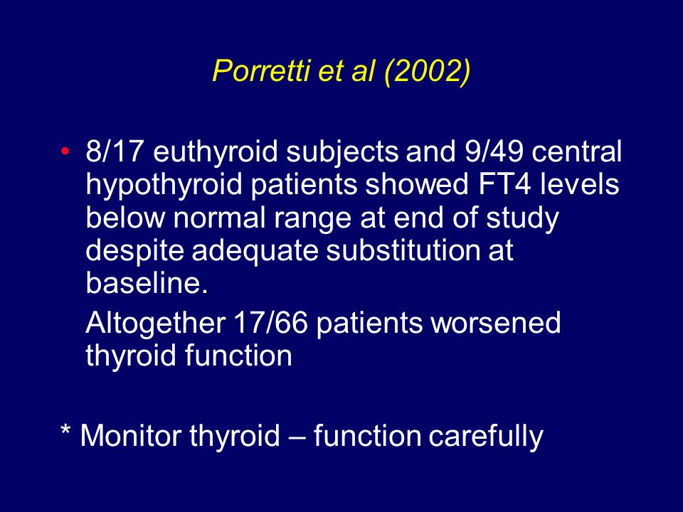 8/17 euthyroid subjects and 9/49 central hypothyroid patients showed FT4 levels below normal range at end of study despite adequate substitution at baseline.