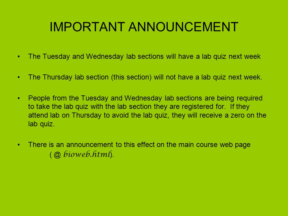 IMPORTANT ANNOUNCEMENT The Tuesday and Wednesday lab sections will have a lab quiz next week The Thursday lab section (this section) will not have a lab quiz next week.