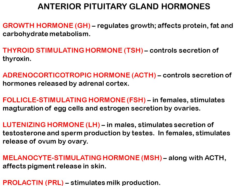 ANTERIOR PITUITARY GLAND HORMONES GROWTH HORMONE (GH) – regulates growth; affects protein, fat and carbohydrate metabolism. THYROID STIMULATING HORMON