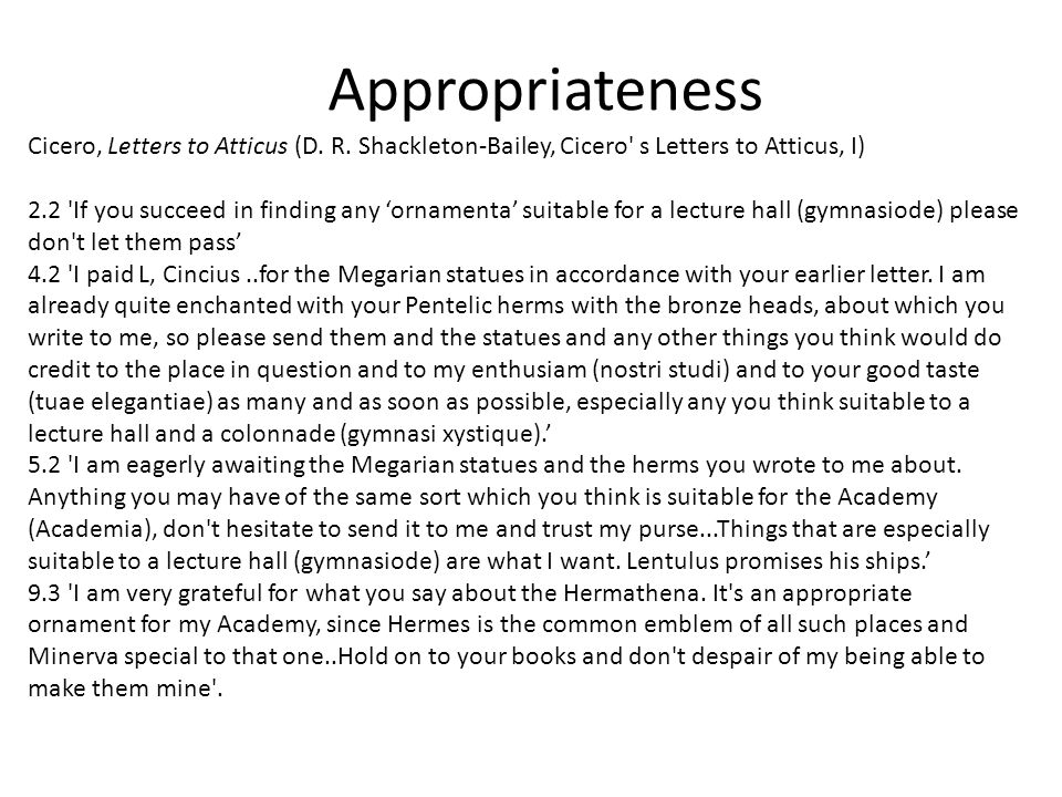 Appropriateness Cicero, Letters to Atticus (D. R.