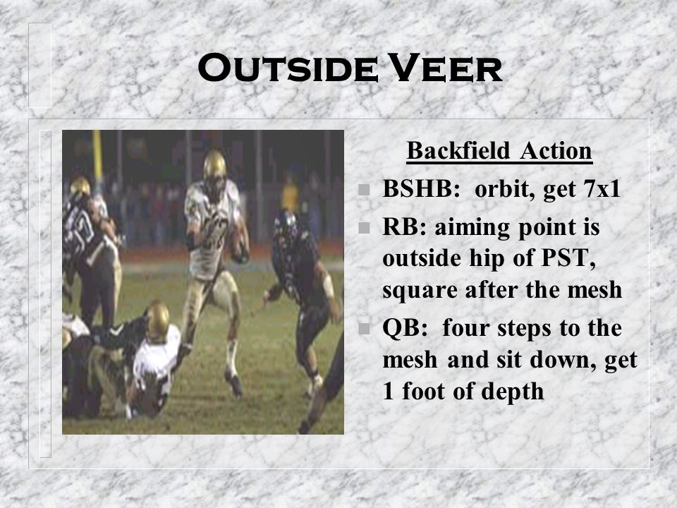 Outside Veer Backfield Action n BSHB: orbit, get 7x1 n RB: aiming point is outside hip of PST, square after the mesh n QB: four steps to the mesh and